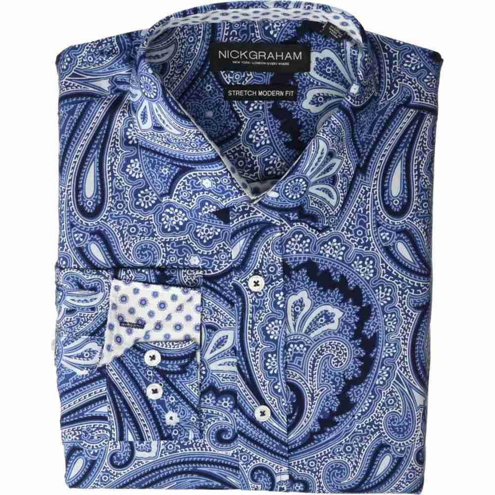 ニック グラハム Nick Graham メンズ シャツ トップス【Large Paisley Stretch Dress Shirt】Dark Navy