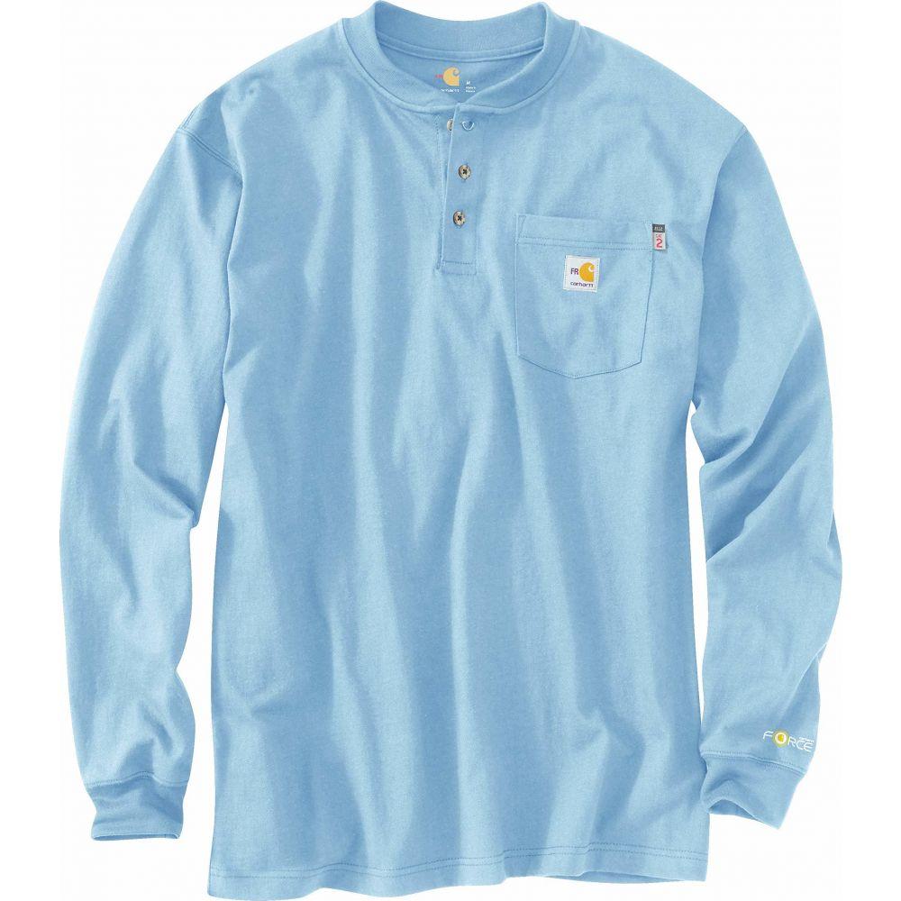カーハート Carhartt メンズ 長袖Tシャツ 大きいサイズ ヘンリーシャツ トップス【Big & Tall Flame-Resistant Force Cotton Long Sleeve Henley】Medium Blue