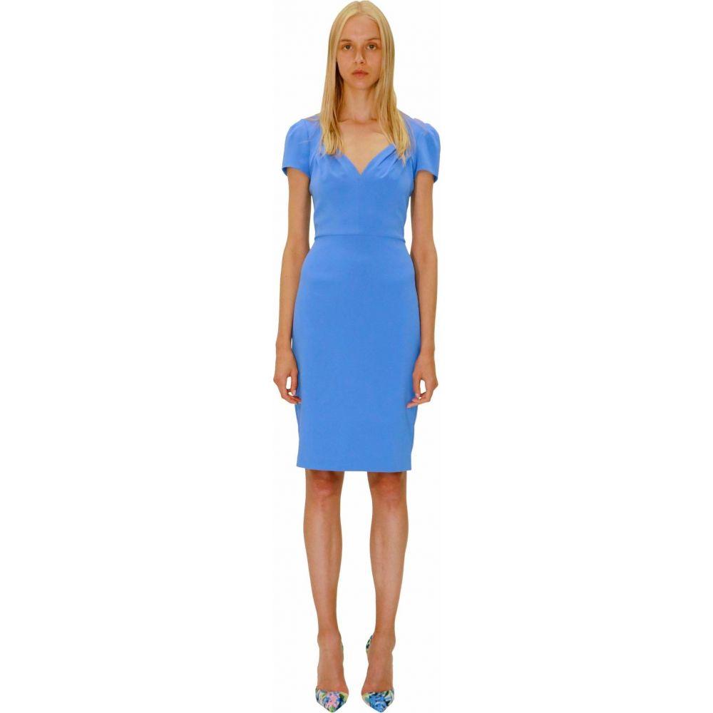 バッジェリー ミシュカ Badgley Mischka レディース ワンピース Vネック ワンピース・ドレス【V-Neck Cap Sleeve Crepe Dress】Light Blue