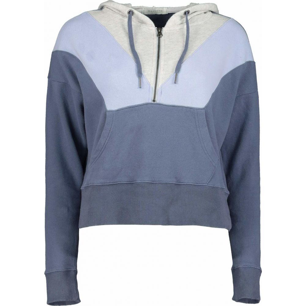 モドオードック Mod o doc レディース パーカー ハーフジップ トップス Cashmere French Terry Color Block 1 2 Zip Hoodie Indigo Ink Color BlockhrsCQdxt
