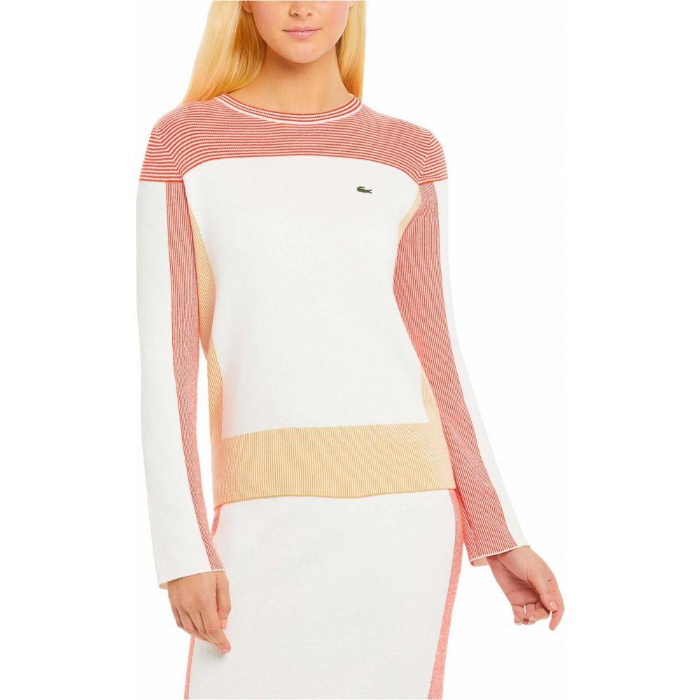 ラコステ Lacoste レディース ニット・セーター トップス【Long Sleeve Box Stripes Sweater】Flour/Taffy/Corrida