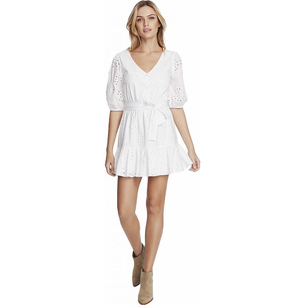 ワンステート 1.STATE レディース ワンピース ワンピース・ドレス【Cotton Eyelet Button Front Tie Waist Dress】Ultra White