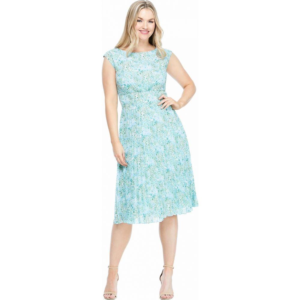 マギーロンドン Maggy London レディース ワンピース ワンピース・ドレス【Printed Pleated Sunburst Dress】Sage/Blue