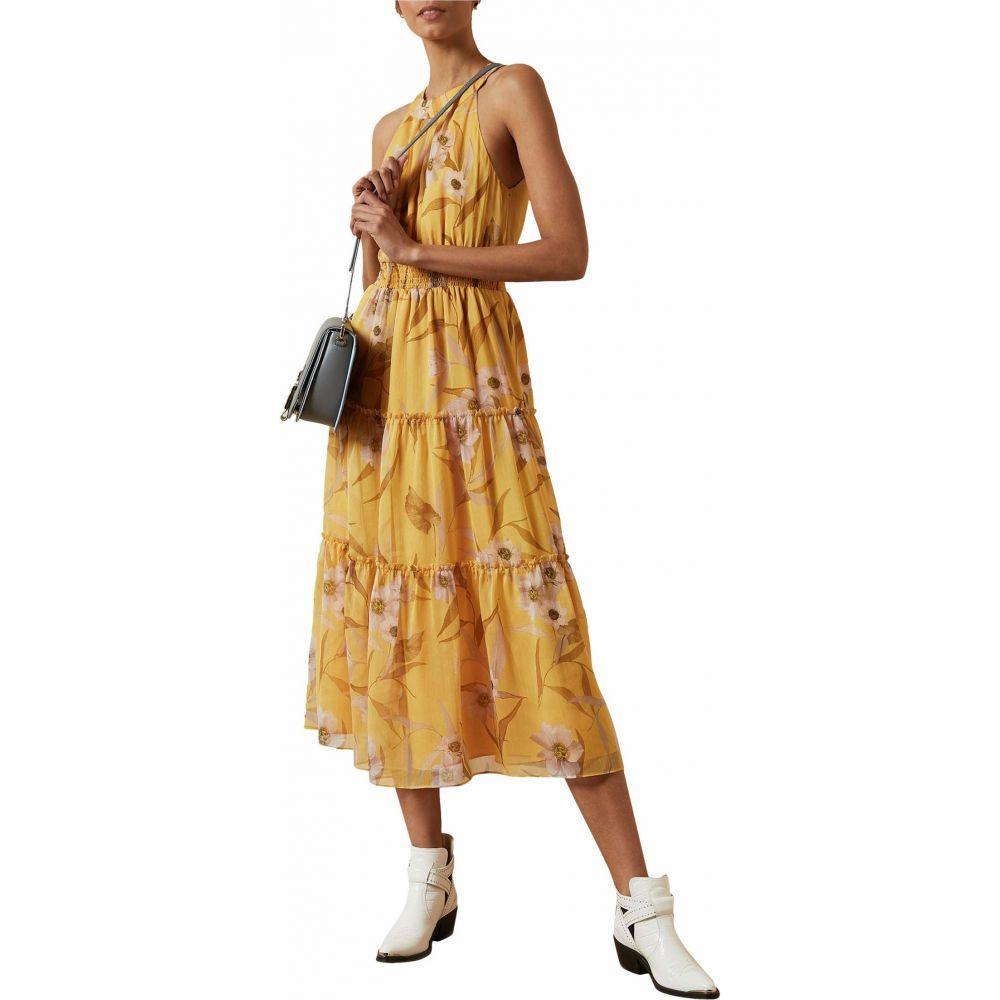 テッドベーカー Ted Baker レディース ワンピース ティアードドレス ワンピース・ドレス【Saffine Cabana Printed Tiered Midi Dress】Yellow