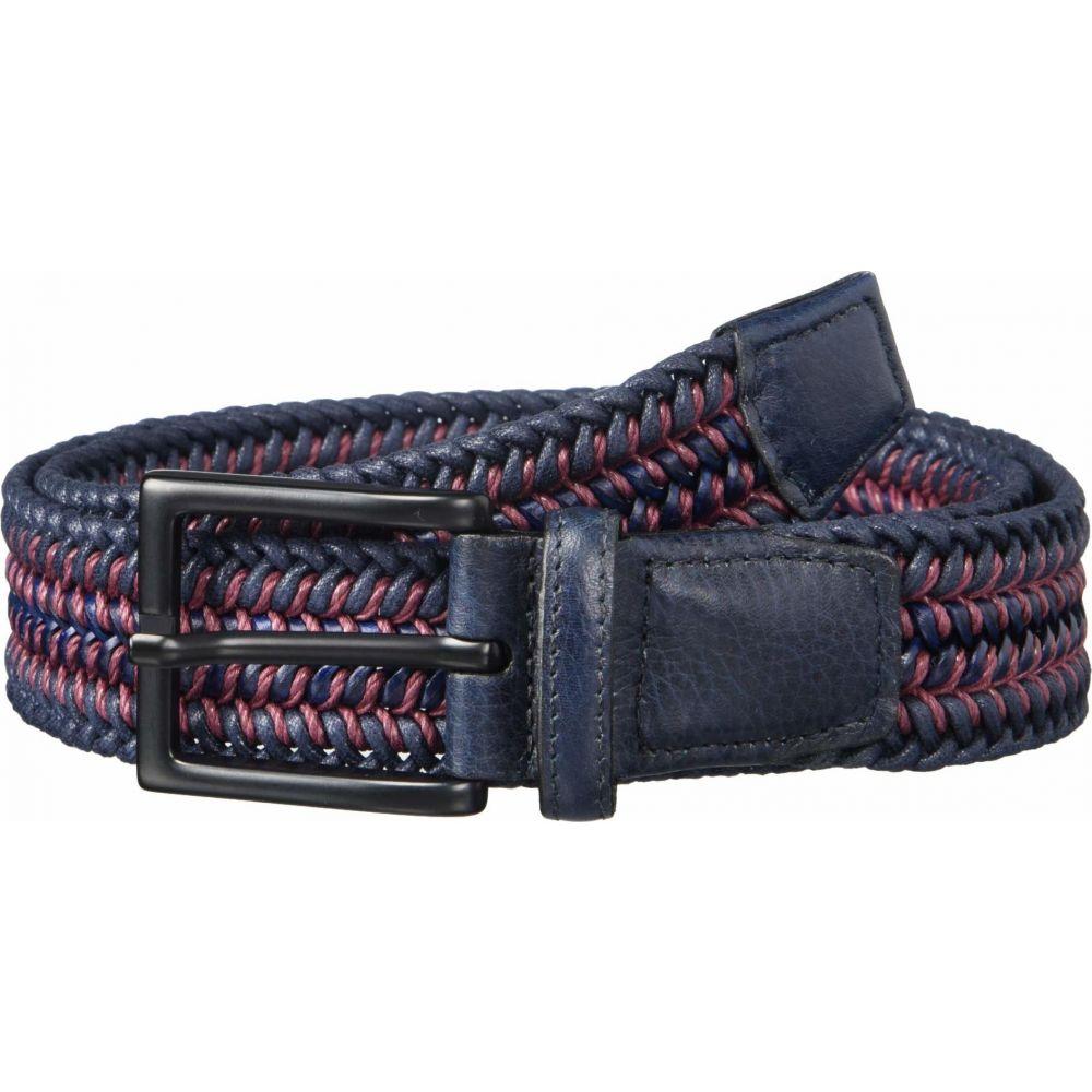 トリノレザー Torino Leather Co. メンズ ベルト 【35 mm Italian Woven Cotton & Leather】Navy/Burgundy