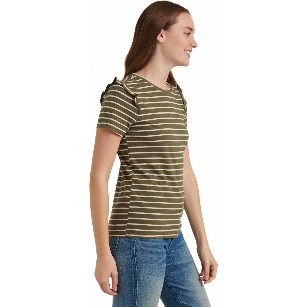 ラッキーブランド Lucky Brand レディース Tシャツ トップス Short Sleeve Crew Neck Stripe Ruffle Tee Olive Pink StripestdQCxhrBo
