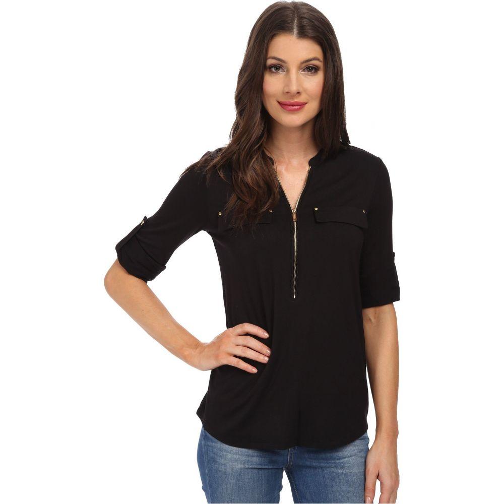 カルバンクライン Calvin Klein レディース トップス 【Essentials Zip Front Roll Sleeve】Black