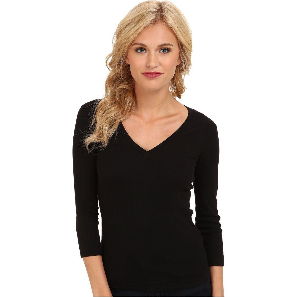 スリードッツ Three Dots レディース 長袖Tシャツ 七分袖 Vネック トップス【100% Cotton Heritage Knit 3/4 Sleeve Deep V-Neck】Black