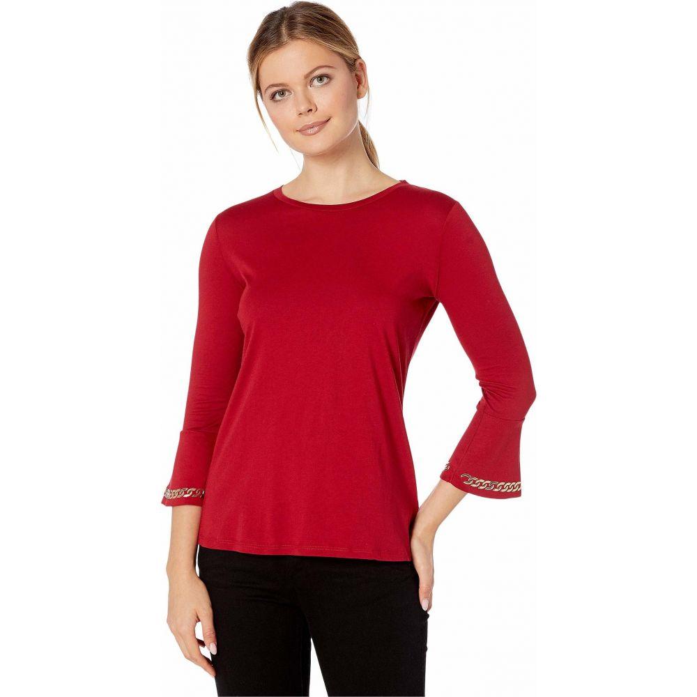 マイケル コース MICHAEL Michael Kors レディース 長袖Tシャツ 七分袖 トップス【Embroidered Chain 3/4 Sleeve Top】Red Currant