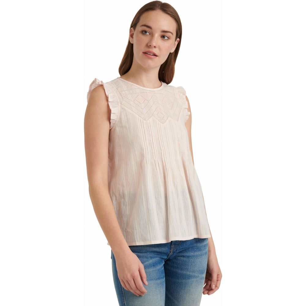 ラッキーブランド Lucky Brand レディース ノースリーブ トップス【Sleeveless Crew Neck Shiffly Ruffle Top】Primrose Pink