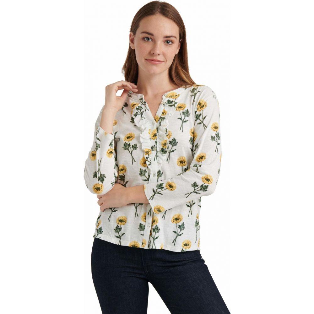ラッキーブランド Lucky Brand レディース ブラウス・シャツ ヘンリーシャツ トップス【Long Sleeve Button-Up Floral Ruffle Henley Top】Yellow Multi