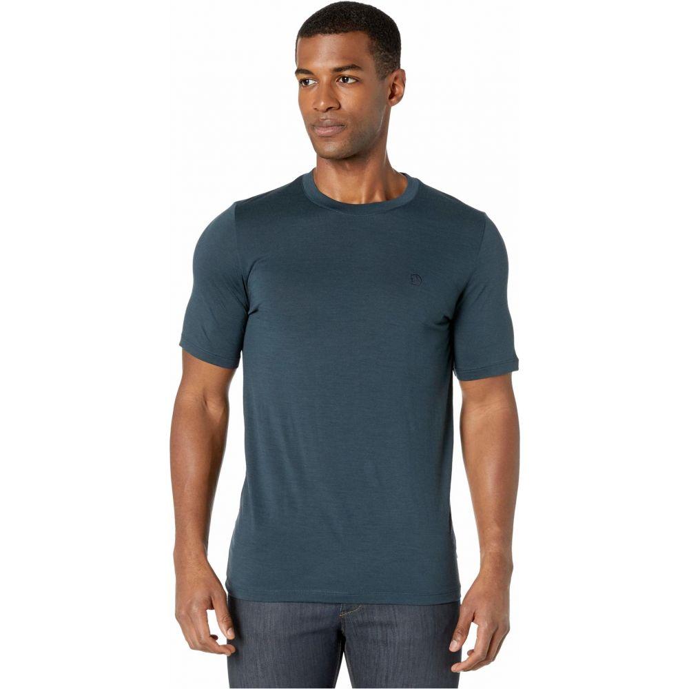 フェールラーベン Fjallraven メンズ Tシャツ トップス【Abisko Wool Short Sleeve】Dark Navy
