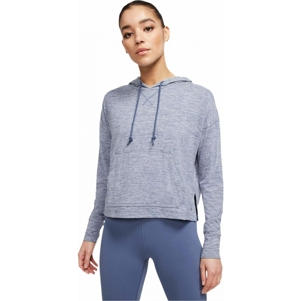 ナイキ Nike レディース パーカー トップス【Yoga Jersey Crop Hoodie】Diffused Blue/Heather/Diffused Blue