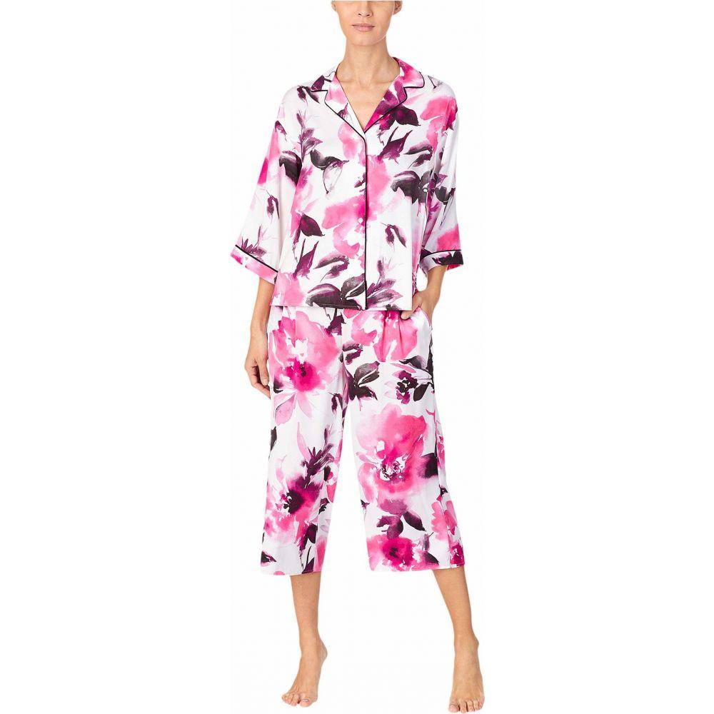 ダナ キャラン ニューヨーク Donna Karan レディース パジャマ・上下セット インナー・下着【Charmeuse Capris Pajama Set】White Large Floral