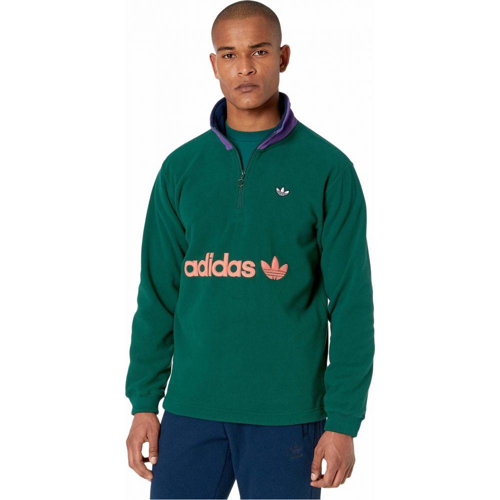 アディダス adidas Originals メンズ フリース ハーフジップ トップス【1/2 Zip Fleece】Collegiate Green