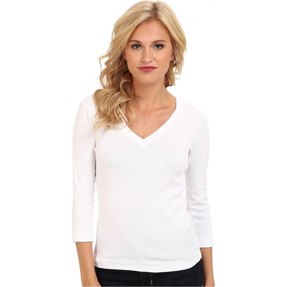 スリードッツ Three Dots レディース 長袖Tシャツ 七分袖 Vネック トップス【100% Cotton Heritage Knit 3/4 Sleeve Deep V-Neck】White