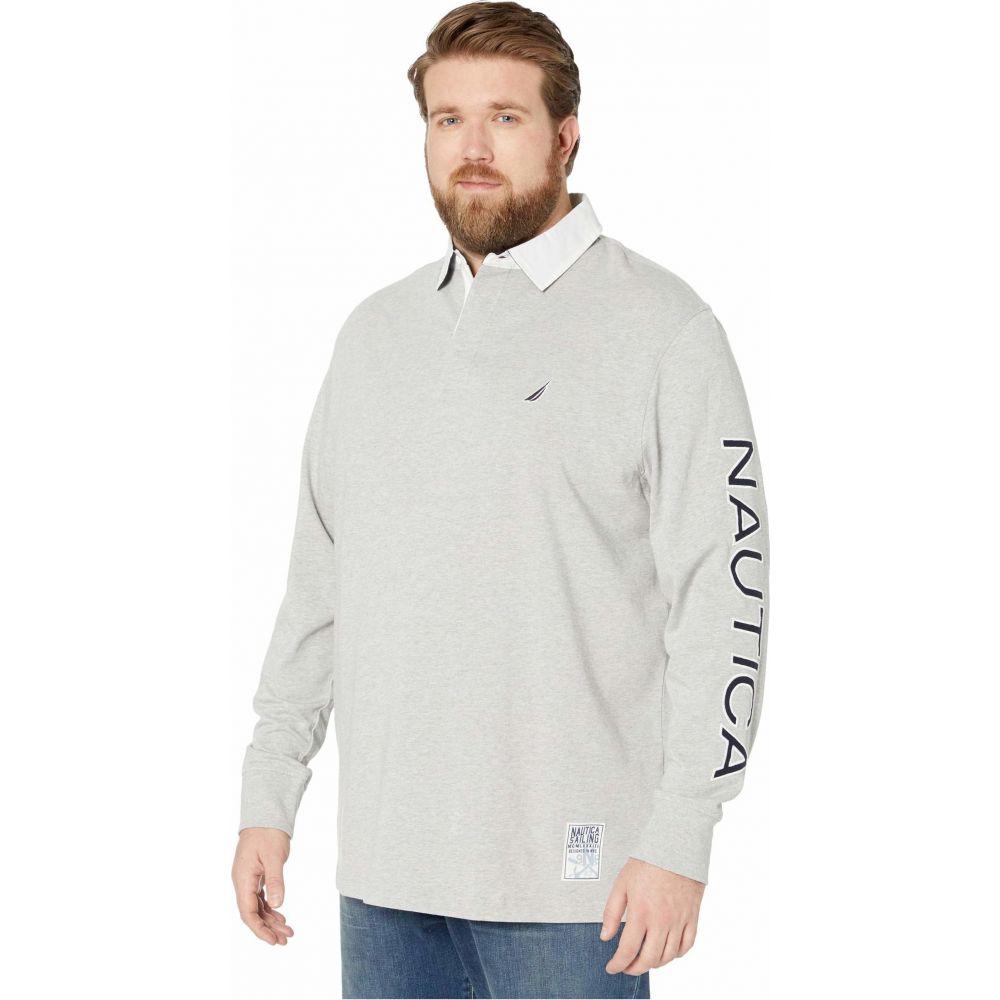 ノーティカ Nautica Big & Tall メンズ ポロシャツ 大きいサイズ トップス【Big & Tall Long Sleeve Logo Rugby】Grey Heather