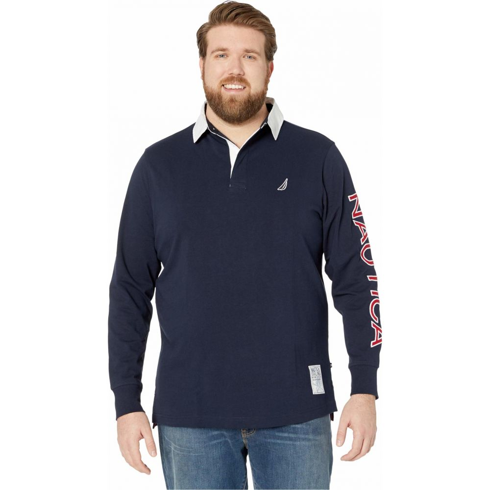 ノーティカ Nautica Big & Tall メンズ ポロシャツ 大きいサイズ トップス【Big & Tall Long Sleeve Logo Rugby】Navy