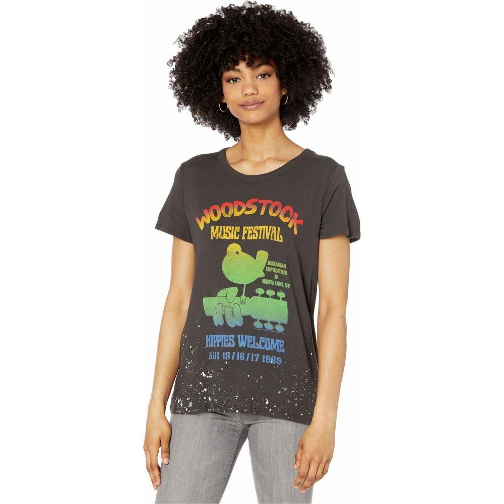 チェイサー Chaser レディース Tシャツ トップス【Woodstock 'Music Festival' Crew Neck Tee】Vintage Black