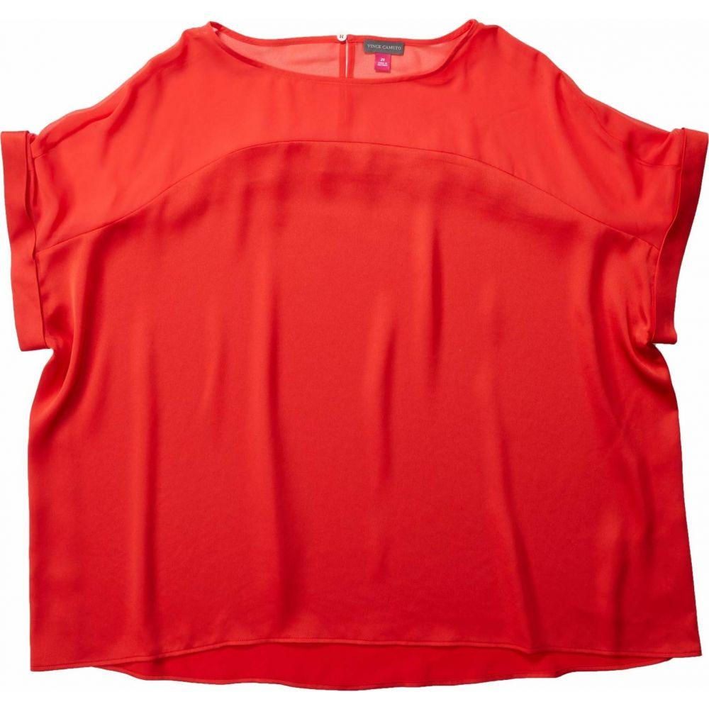 ヴィンス カムート Vince Camuto Specialty Size レディース ブラウス・シャツ 大きいサイズ トップス【Plus Size Short Sleeve Chiffon Yoke Charmeuse Blouse】Bright Ladybug