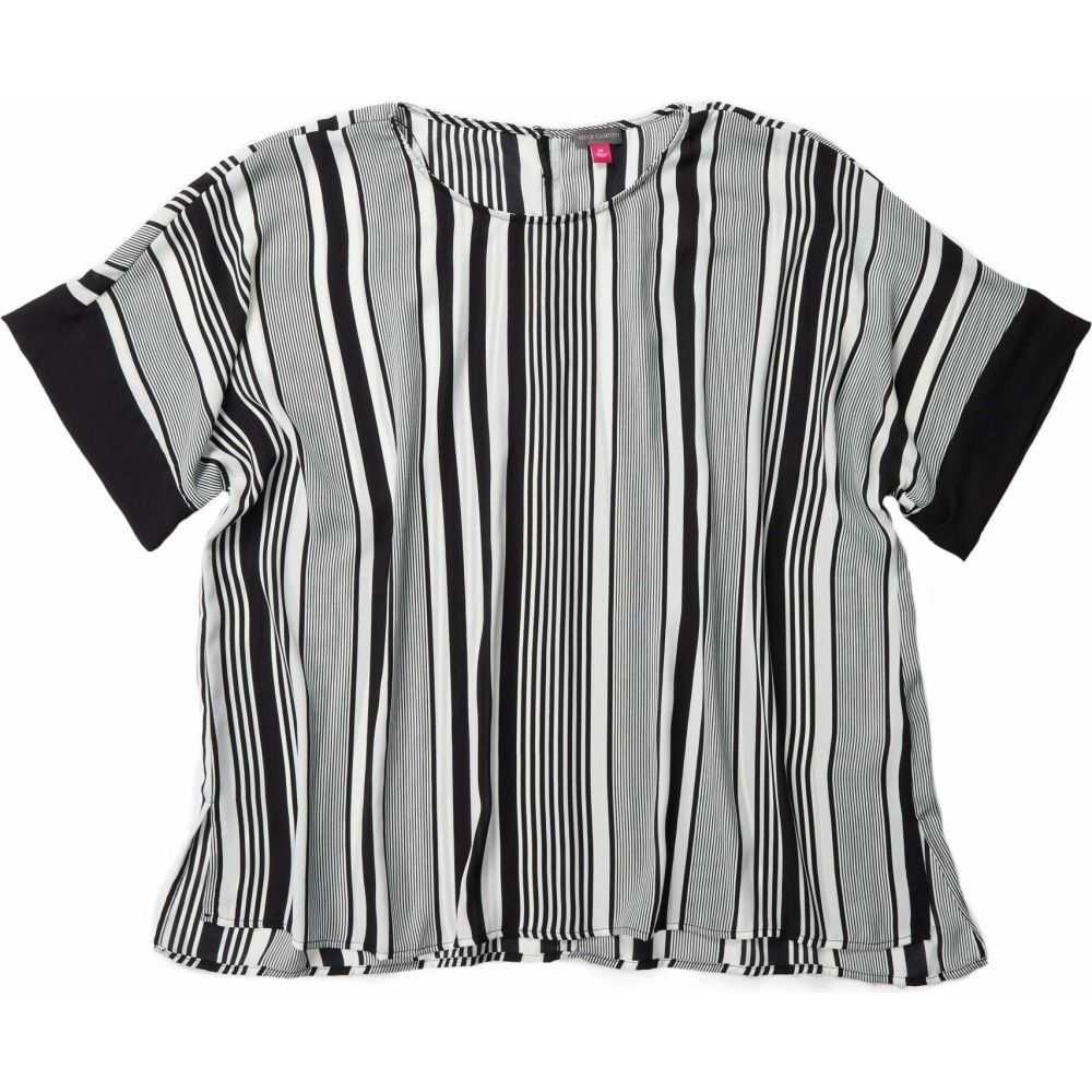 ヴィンス カムート Vince Camuto Specialty Size レディース ブラウス・シャツ 大きいサイズ トップス【Plus Size Extended Shoulder Variagated Graphic Stripe Blouse】Rich Black