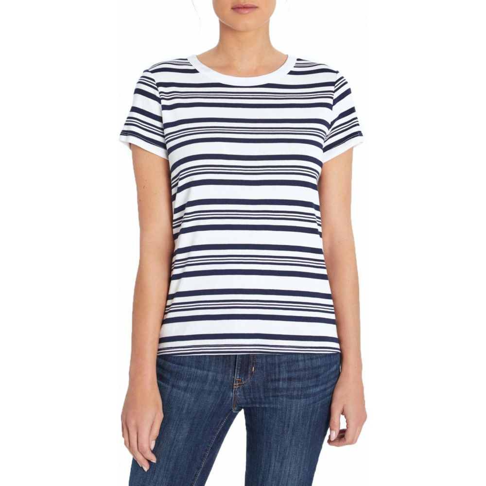 スリードッツ Three Dots レディース Tシャツ トップス【Cotton Modal Short Sleeve Tee】Night Iris Stripe