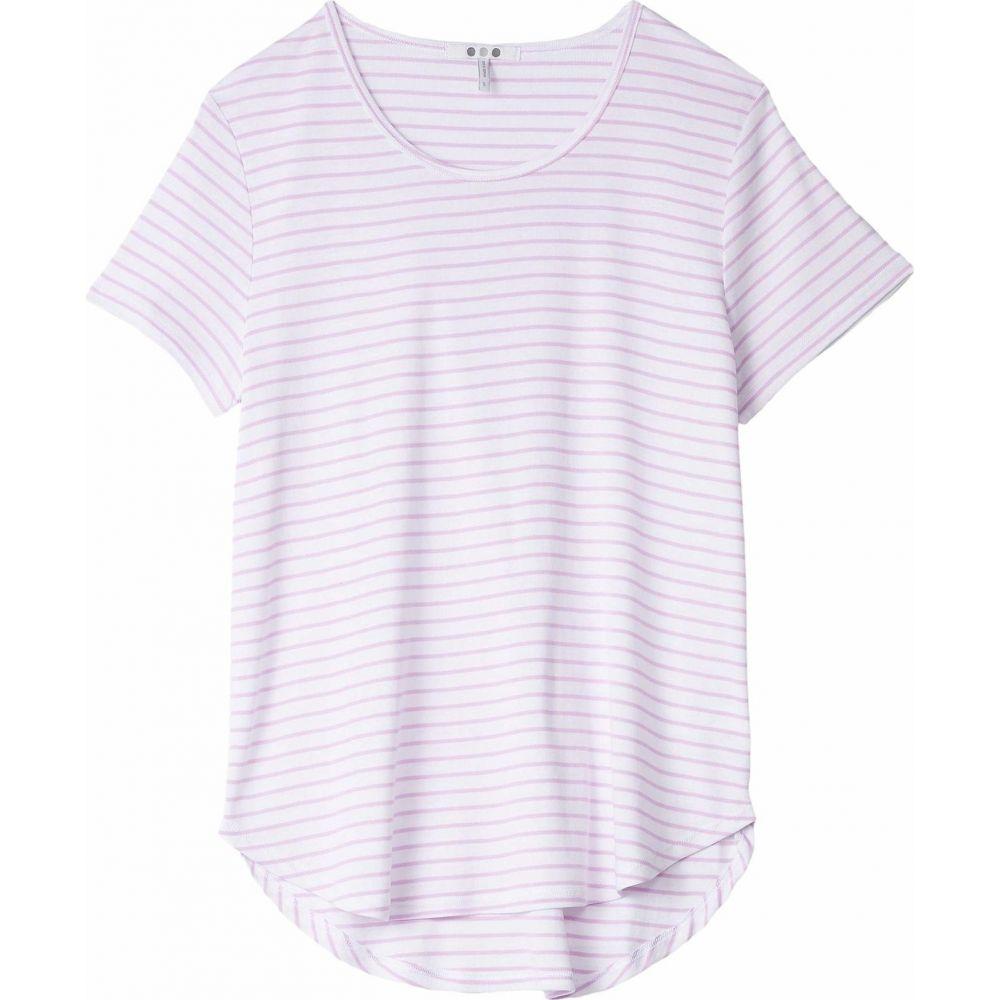 スリードッツ Three Dots レディース Tシャツ トップス【Cotton Modal Short Sleeve Stripe Tee】White/Orchid