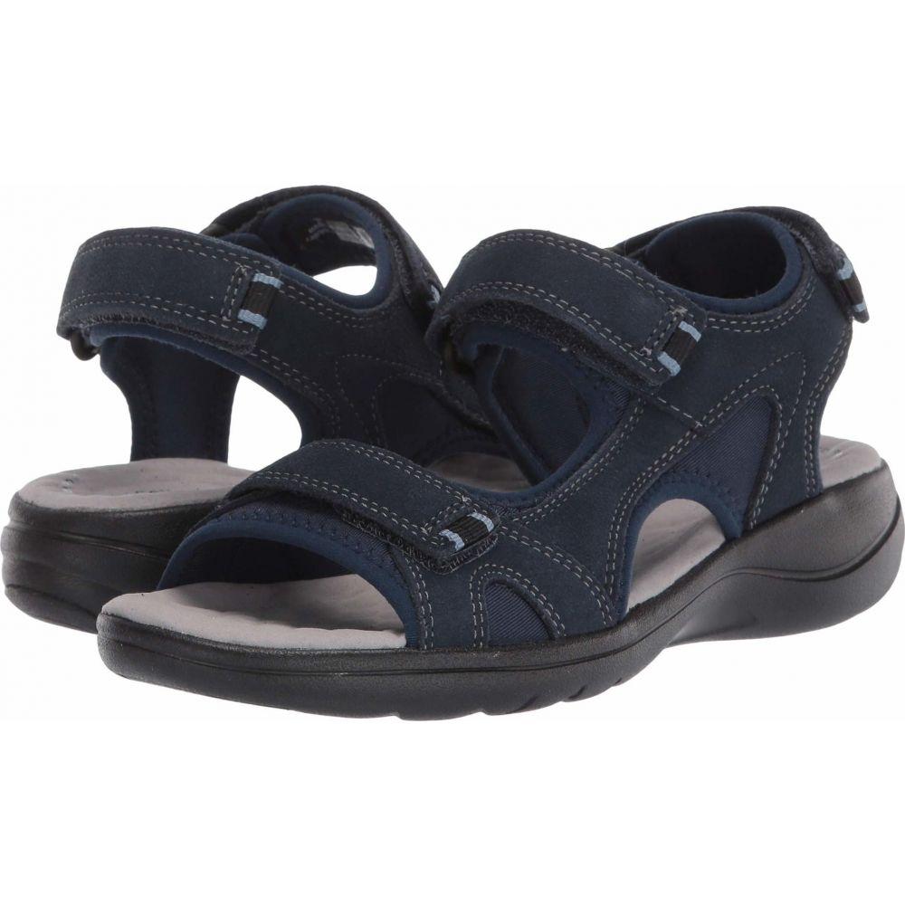 クラークス Clarks レディース サンダル・ミュール シューズ・靴【Saylie Spin】Navy Suede/Textile Combi