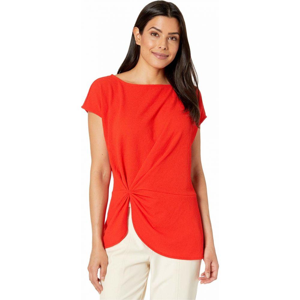 ヴィンス カムート Vince Camuto レディース トップス 【Extend Shoulder Side Cinched Knit Crepe Top】Crimson Red