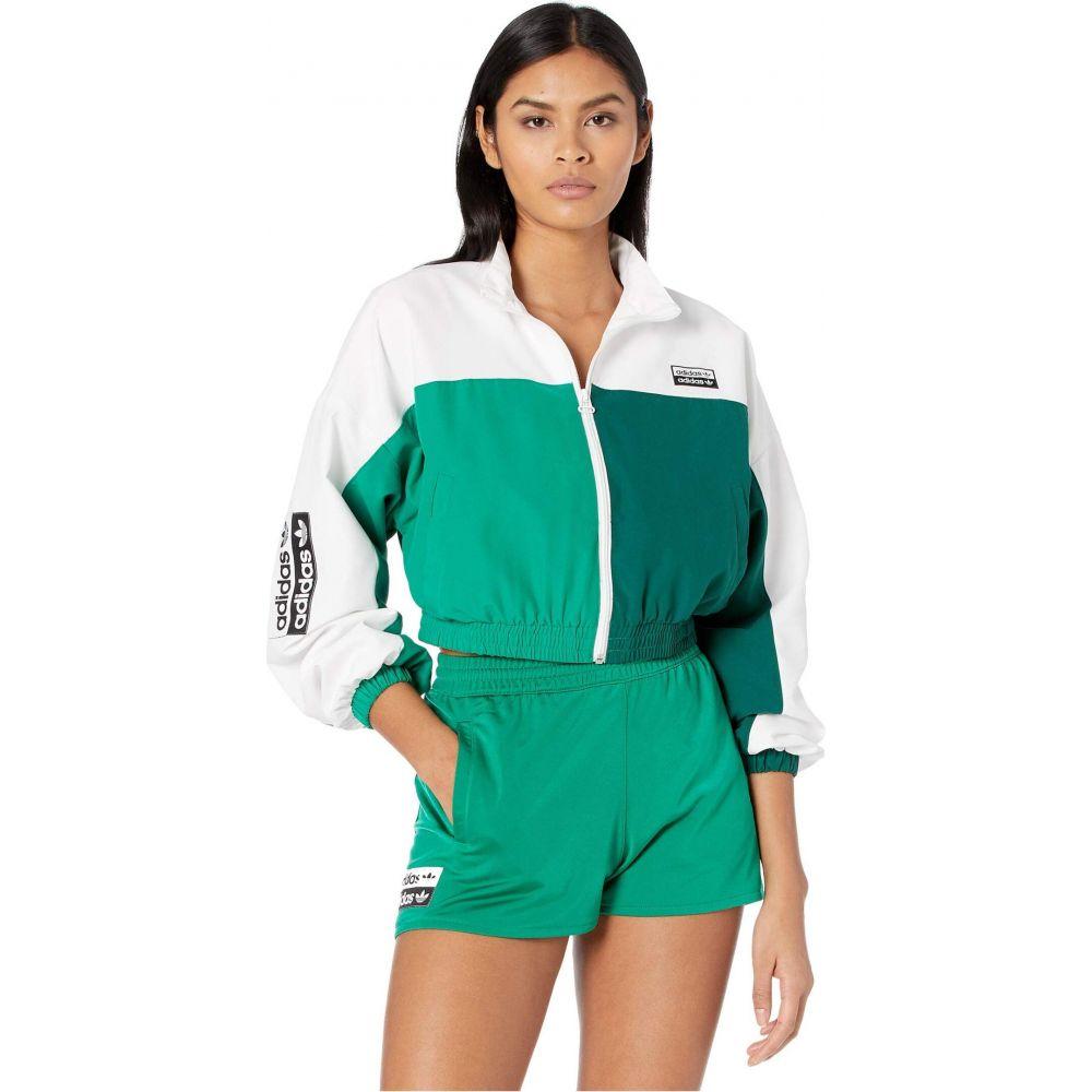 アディダス adidas Originals レディース ジャージ アウター【Logo Tape Track Top】White/Bold Green