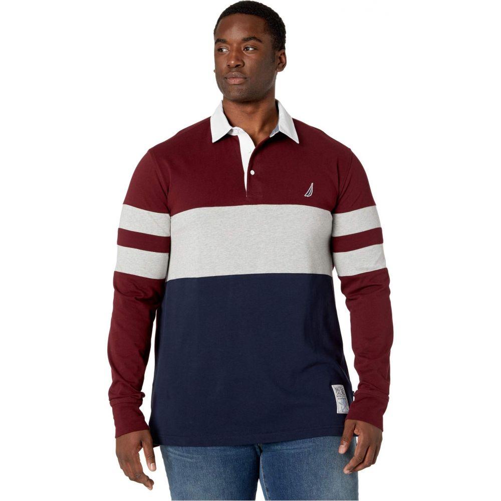 ノーティカ Nautica Big & Tall メンズ ポロシャツ 大きいサイズ トップス【Big & Tall Chest Stripe Rugby】Royal Burgundy