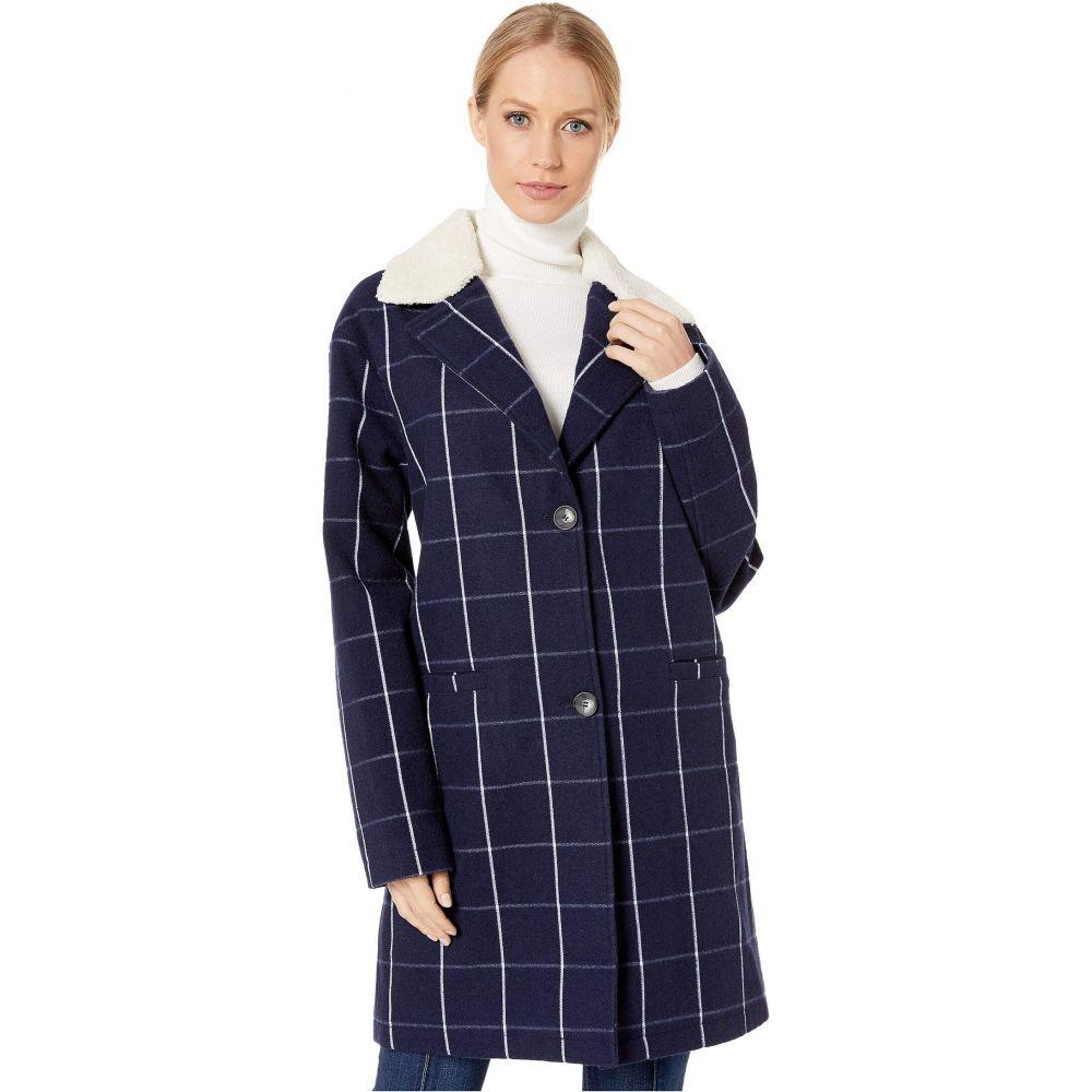 リーバイス Levi's レディース コート アウター【Long Wool Blend with Sherpa Collar】Navy Plaid