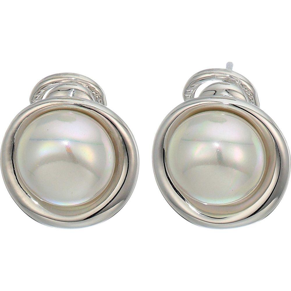マジョリカ Majorica レディース イヤリング・ピアス ジュエリー・アクセサリー【10 mm Margot Button Pearl Post Clip Earrings in Steel】Silver