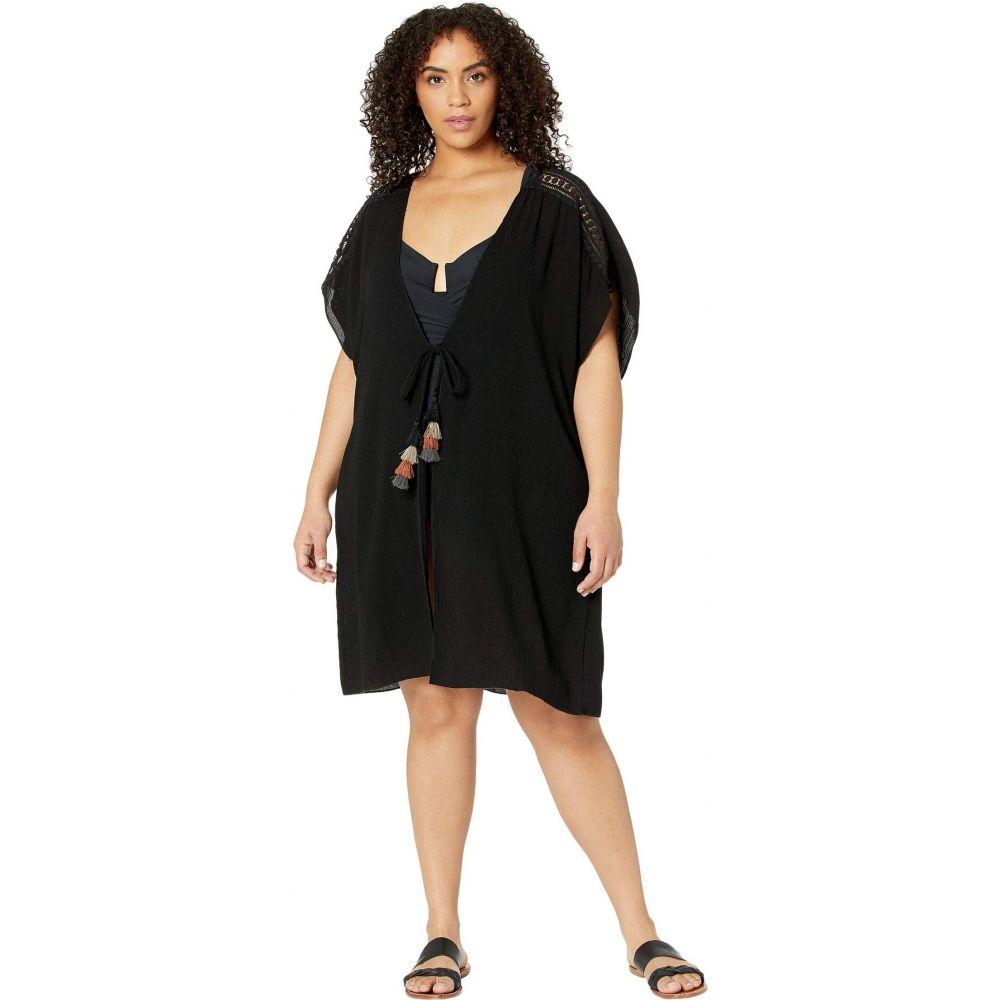 ベッカ BECCA by Rebecca Virtue レディース ビーチウェア 大きいサイズ 水着・ビーチウェア【Plus Size Globe Trotter Crinkled Rayon Kimono Cover-Up】Black
