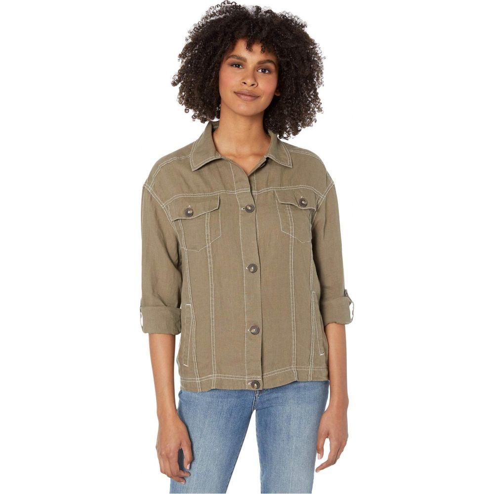 マイケルスターズ Michael Stars レディース ジャケット アウター【Maliah Relaxed Woven Linen Jacket with Contrast Stitching】Camo