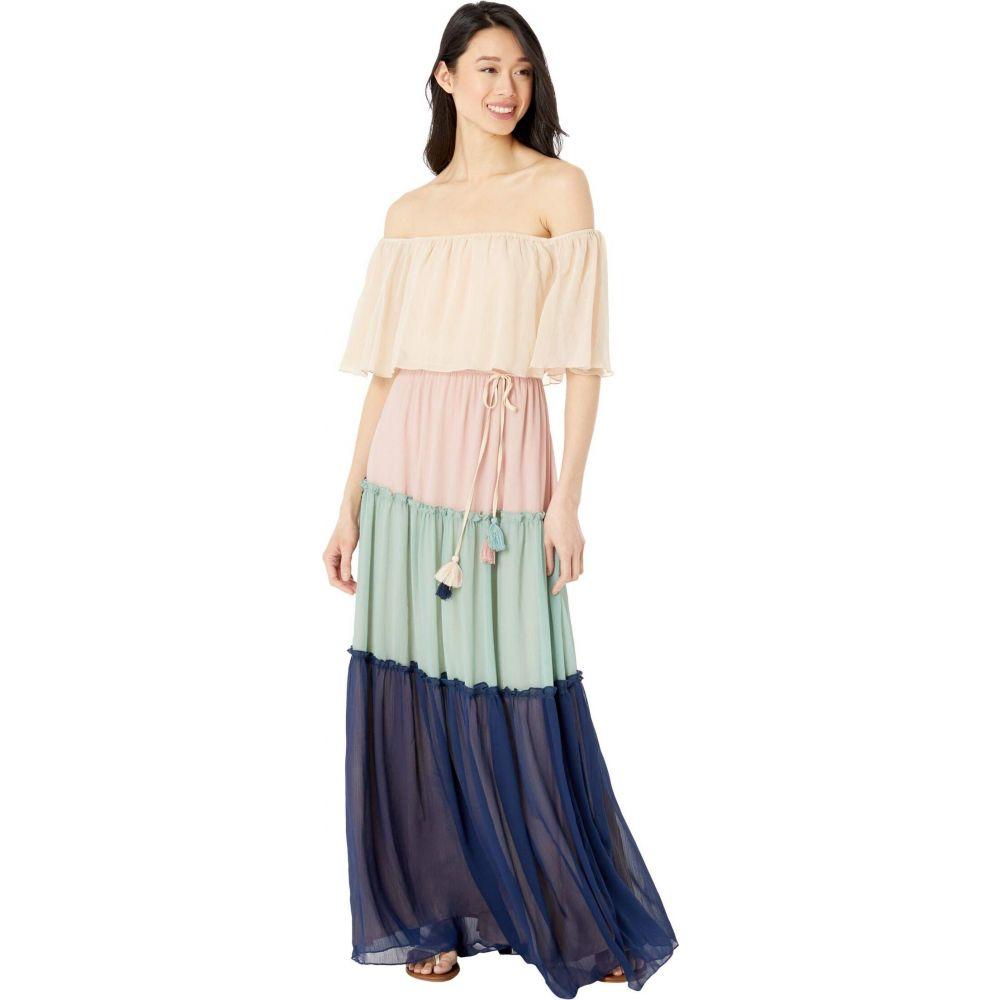 アメリカンローズ American Rose レディース ワンピース マキシ丈 ワンピース・ドレス【Lexie Off-the-Shoulder Color-Block Maxi Dress】Peach/Blush/Navy/Sage