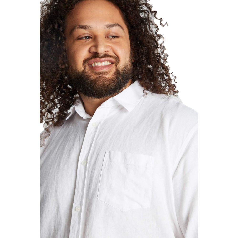 ジョニー ビッグ Johnny Bigg メンズ シャツ 大きいサイズ トップス【Big & Tall Anders Linen Shirt】White