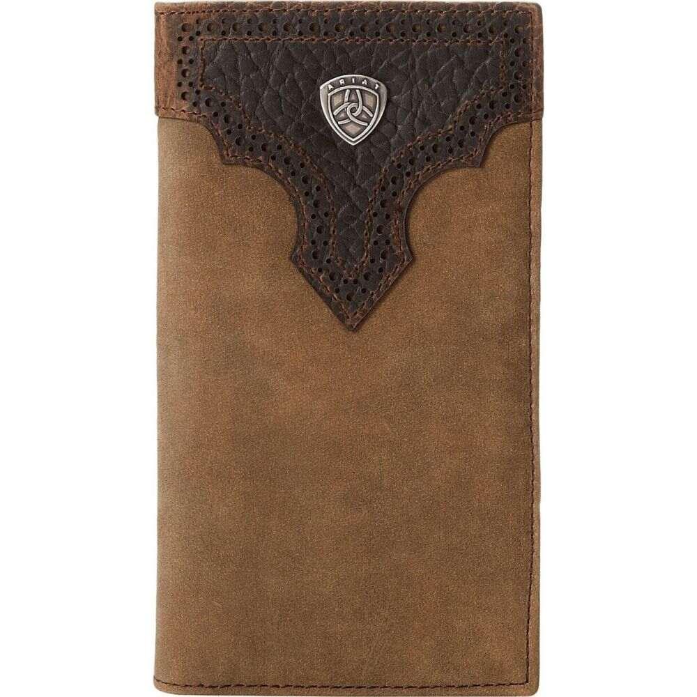 アリアト Ariat メンズ 財布 【Shield Perforated Overlay Rodeo Wallet】Medium Distressed Brown