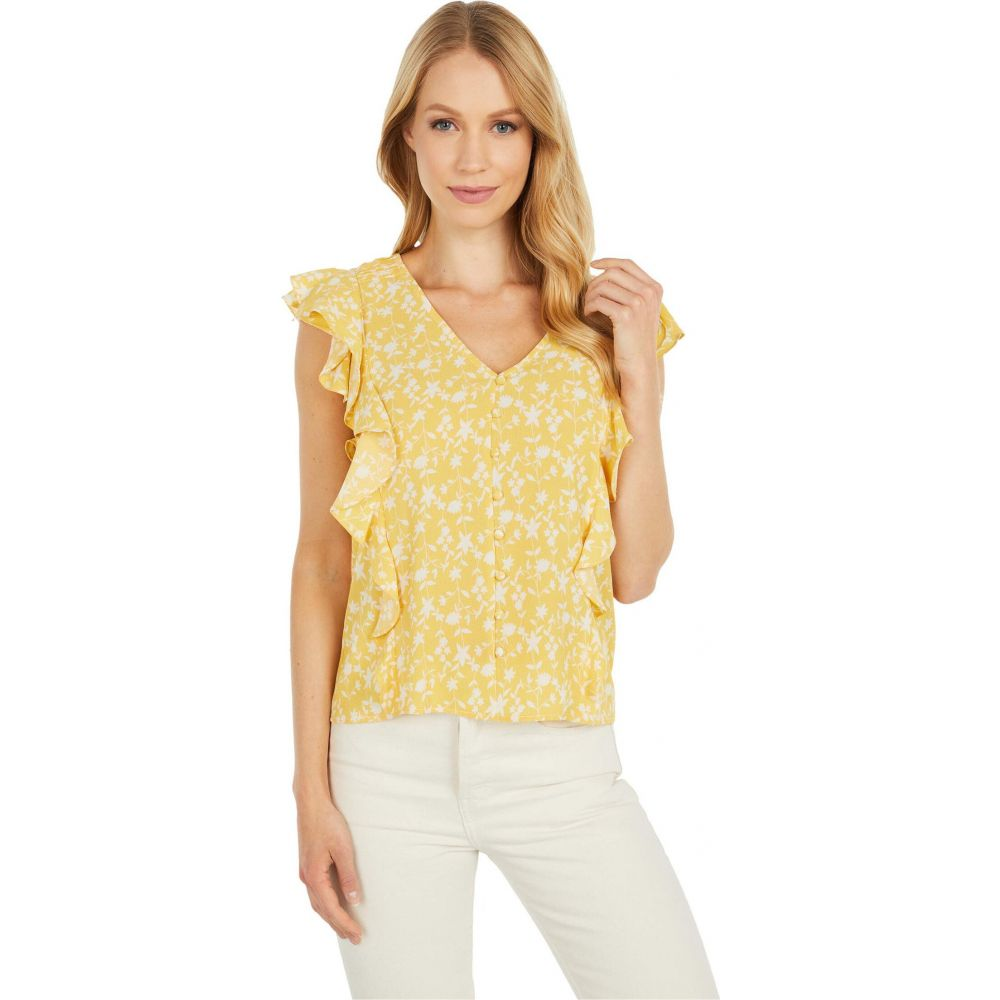 ビービーダコタ BB Dakota レディース ブラウス・シャツ トップス【All The Frills 'Shadow Floral' Print Bubble Crepe Top】Lemon Drop