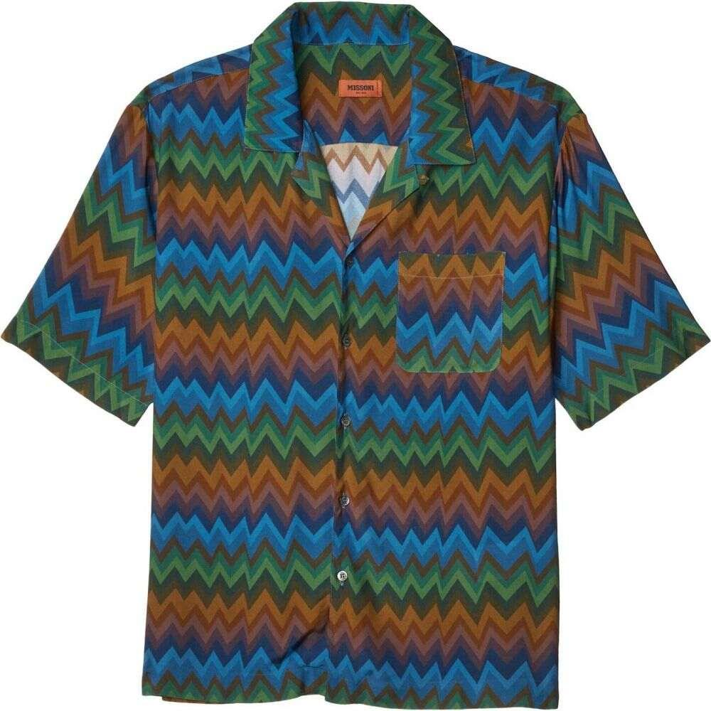 ミッソーニ Missoni メンズ シャツ トップス【Zigzag Sfumato Camp Shirt】Blue