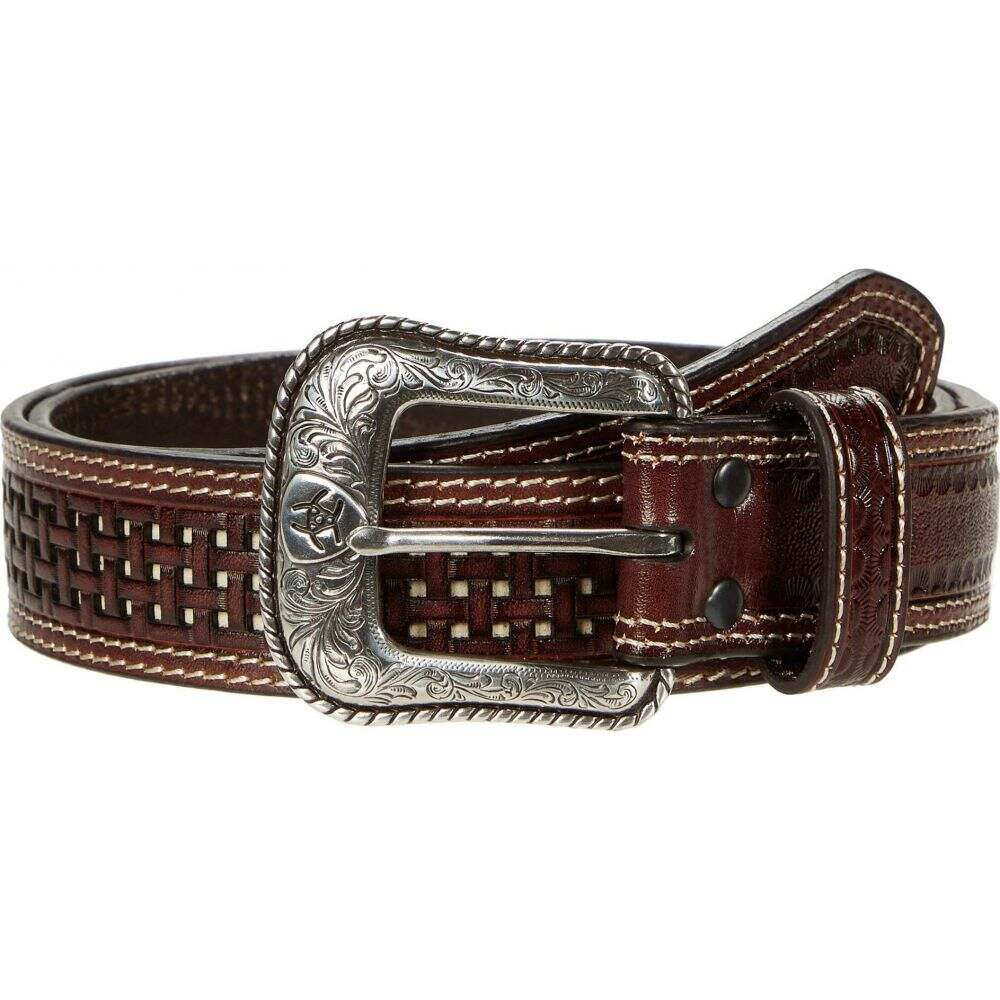 アリアト Ariat メンズ ベルト 【Basket Weave Two-Tone Belt】Brown/Ivory