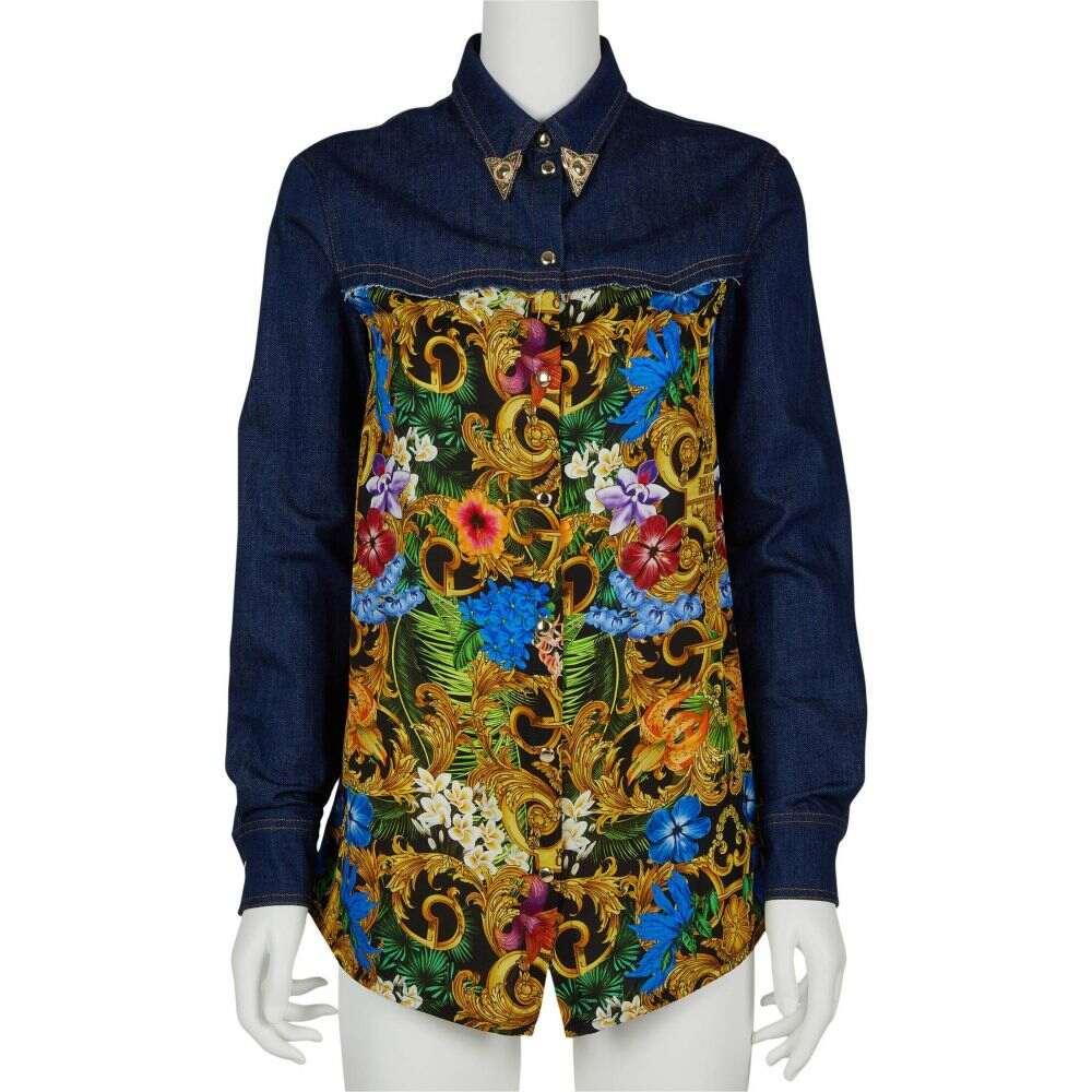 ヴェルサーチ Versace Jeans Couture レディース ブラウス・シャツ デニム トップス【Western Denim Print Shirt】Tropical Baroque