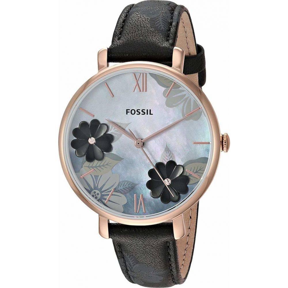 フォッシル Fossil レディース 腕時計 【Jacqueline Three-Hand Leather Watch】ES4535 Rose Gold Black Floral Leather
