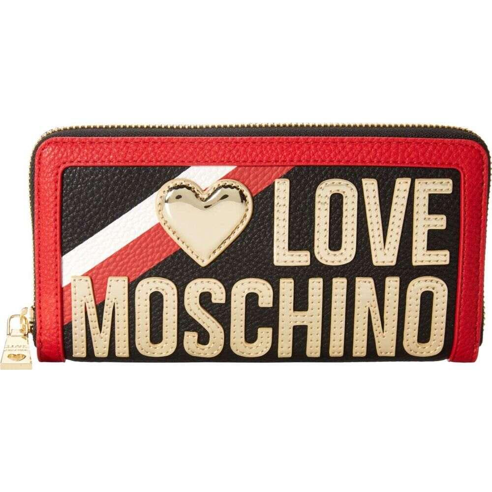 モスキーノ LOVE Moschino レディース 財布 【Racer Stripe Zip Around Wallet】Black