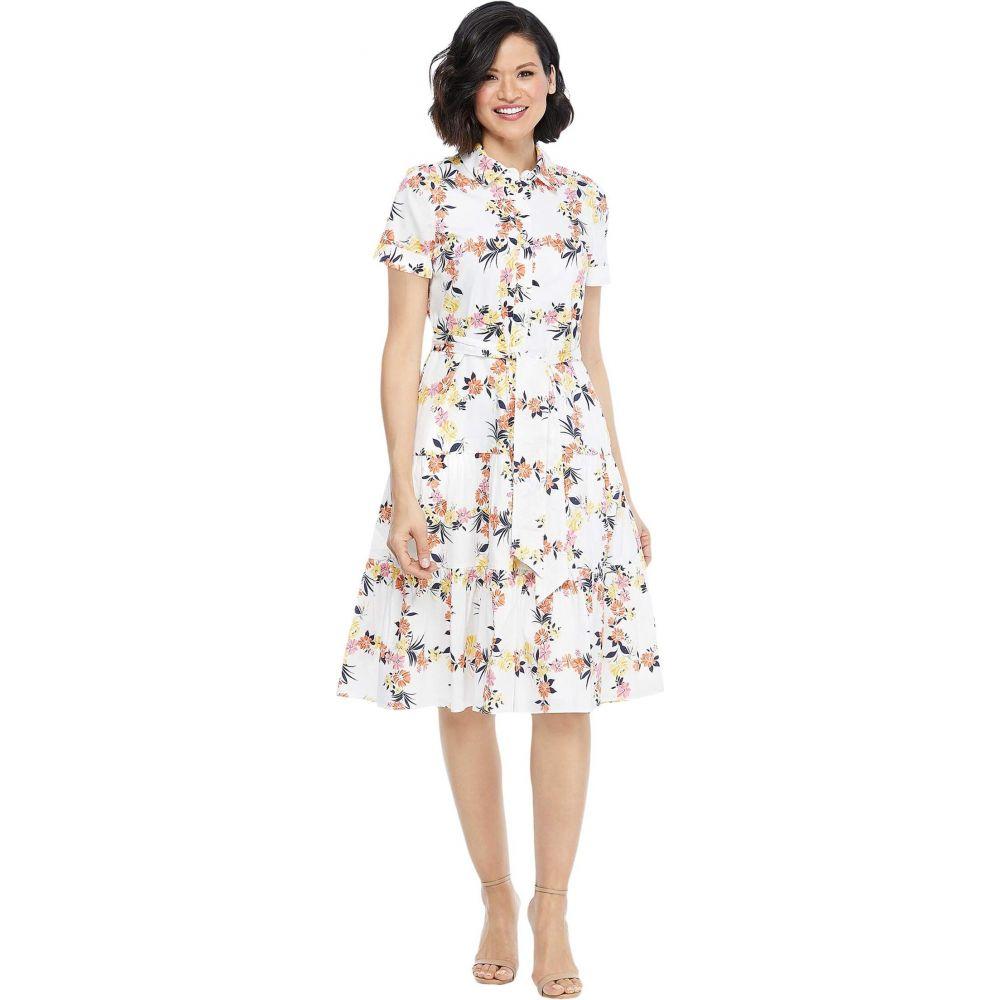 マギーロンドン Maggy London レディース ワンピース シャツワンピース ワンピース・ドレス【Floral Grid Shirtdress with Waist Tie】Soft White/Peach