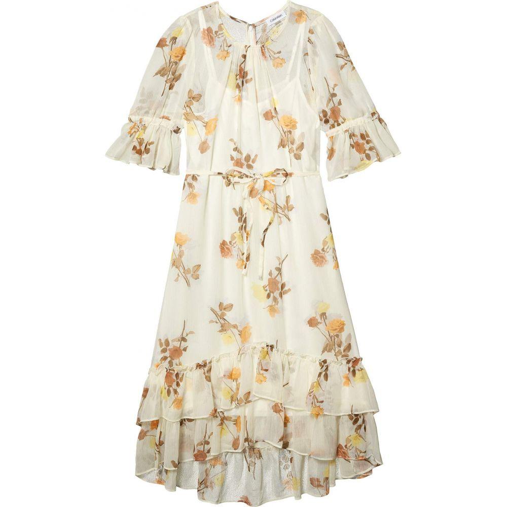 カルバンクライン Calvin Klein レディース ワンピース ワンピース・ドレス【Floral Print Chiffon Dress with Ruffle Cuff and Hem】Luggage Multi