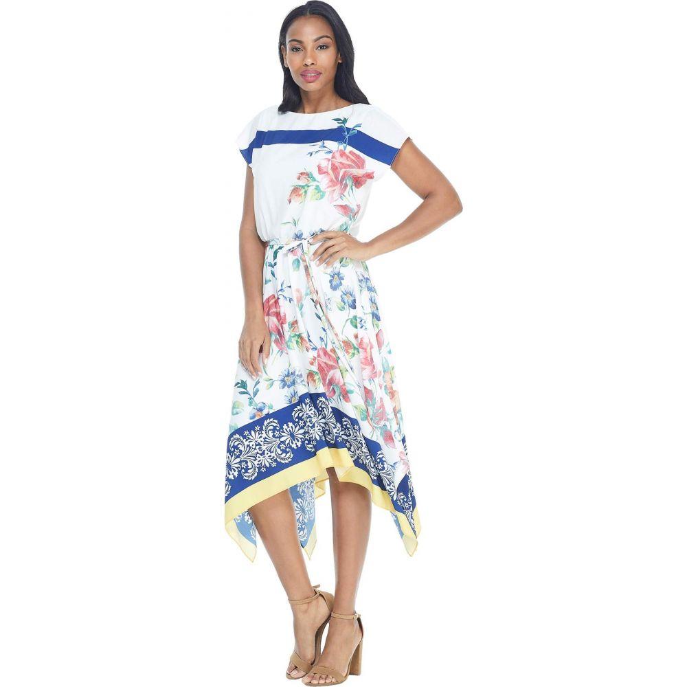 マギーロンドン Maggy London レディース ワンピース ワンピース・ドレス【Placement Print Hanky Hem Dress】Soft White/Blue/Maroon
