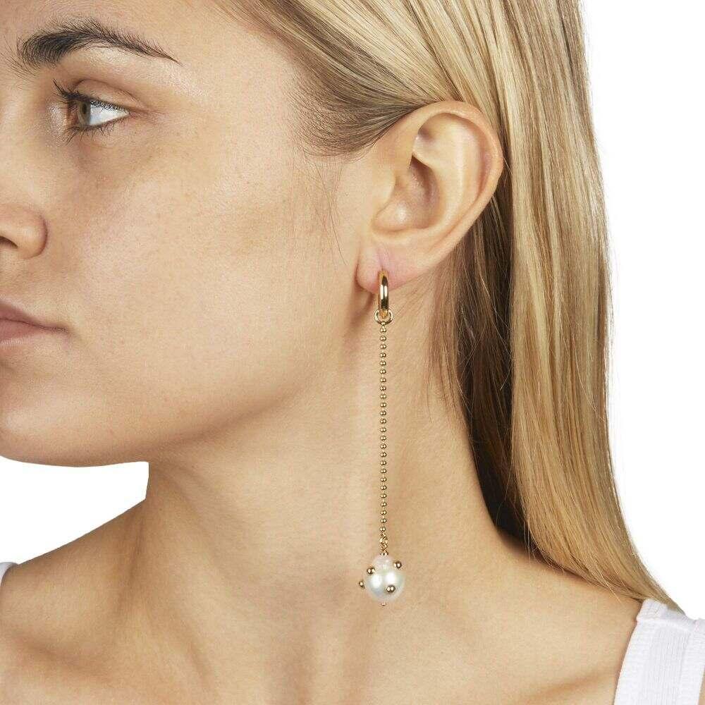 レベッカ ミンコフ Rebecca Minkoff レディース イヤリング・ピアス ジュエリー・アクセサリー【Shoulder Duster Huggie Earrings with Studded Baroque Pearl】Gold