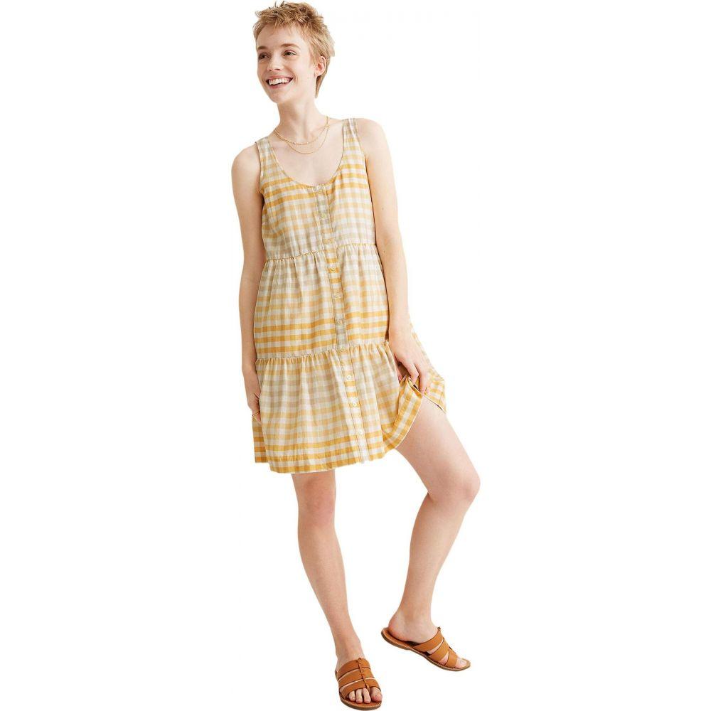メイドウェル Madewell レディース ワンピース ティアードドレス ワンピース・ドレス【Button-Front Tiered Mini Dress】Gingham Ombre Pollen