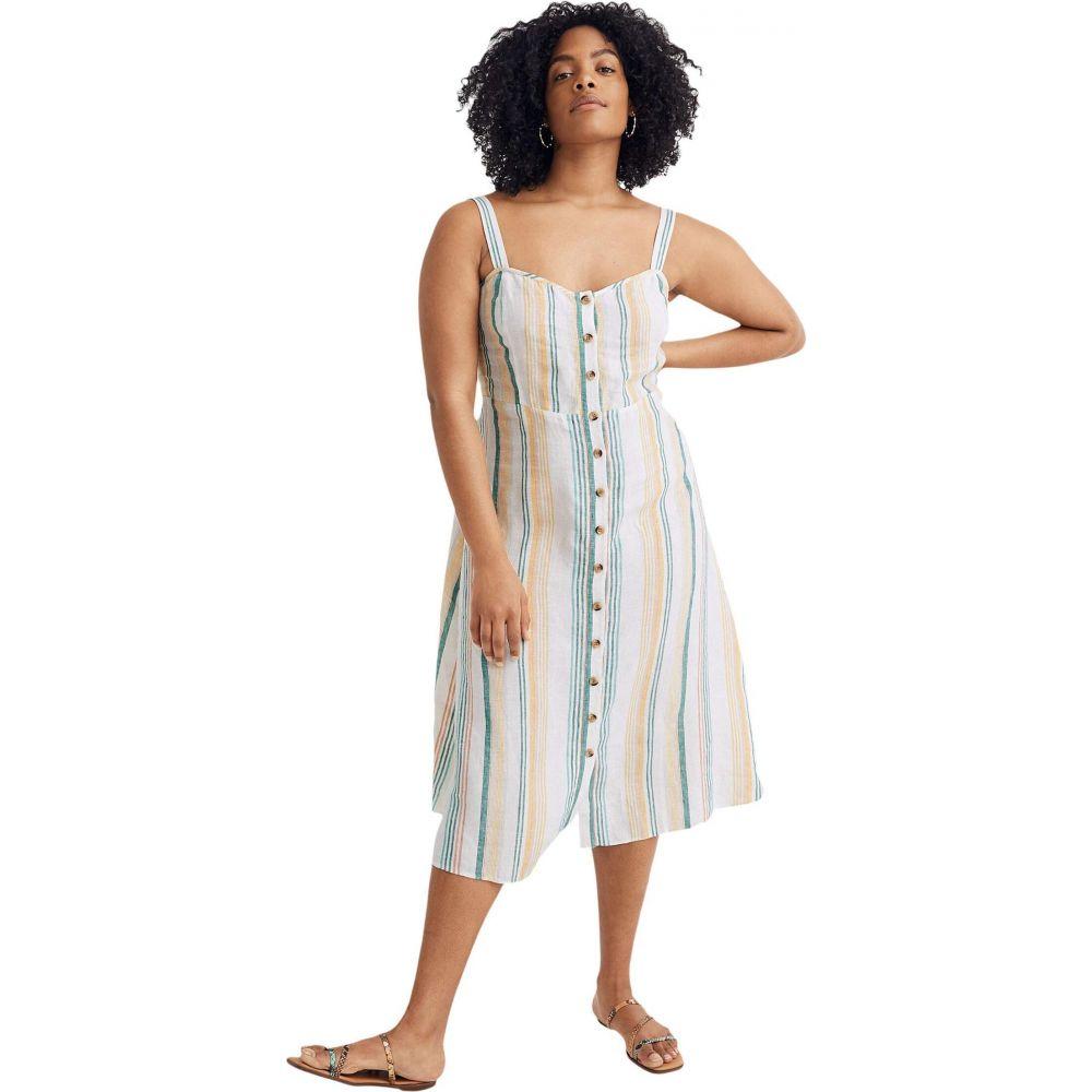 メイドウェル Madewell レディース ワンピース ミドル丈 ワンピース・ドレス【Linen Fitted-Bodice Midi Dress in Stripe】Pale Parchment Carnival Stripe